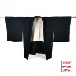 Haori vintage noir japonais pour femme SHIBORI jungle