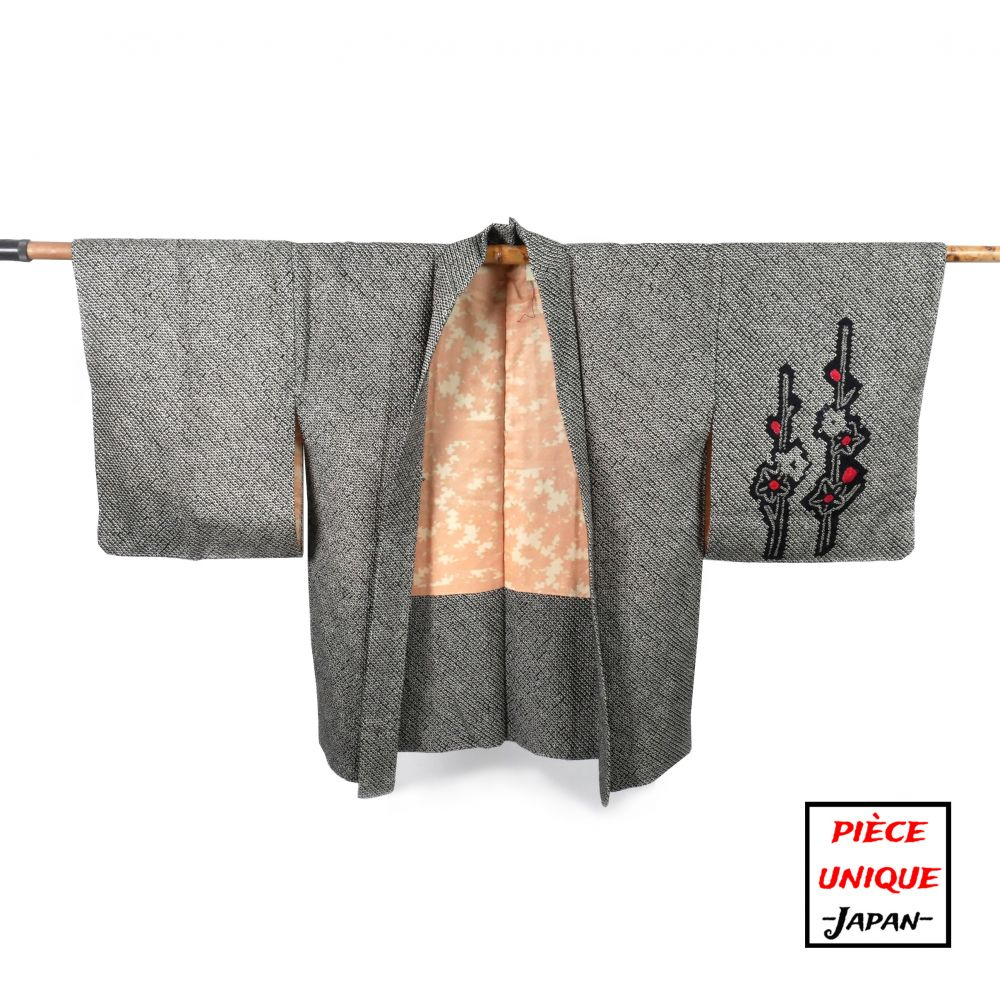 Japanese black vintage haori For Women SHIBORI SAKURA cherry blossoms