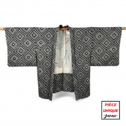 Japanese black vintage haori For Women SHIBORI diamonds