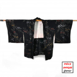 Japanese black vintage haori For Women AMEGIKU chrysanthemum