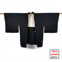 Japanese black vintage haori For Women MOMEN cotton