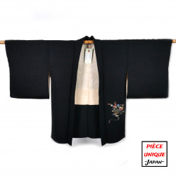 Japanese black vintage haori For Women SENSU folding fans