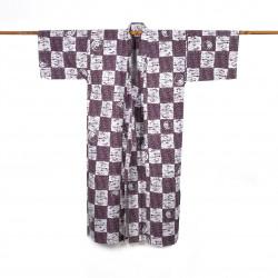Yukata prestigio giapponese di cotone per gli uomini, NEMAKI, porpora