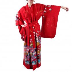 Kimono rouge traditionnel japonais pour femme poèmes brillants et princesses