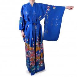 Kimono bleu traditionnel japonais pour femme poèmes brillants et princesses