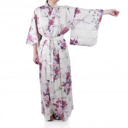 Kimono blanc traditionnel japonais pour femme grue et pivoine