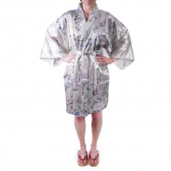 hanten kimono traditionnel japonais blanc en satin poésies et fleurs pour femme