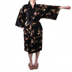 happi japonés kimono algodón negro, KINUME, flores de ciruelo dorado