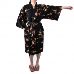 Japanese traditional black cotton happi coat kimono golden plum for ladies