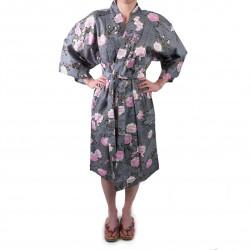happi kimono giapponese in cotone nero, SAKURAGUMO, fiori di ciliegio e nuvole