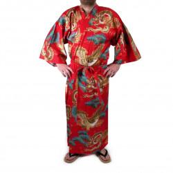 Kimono yukata japonés en algodón rojo, RYÛMATSU, dragón y pinos