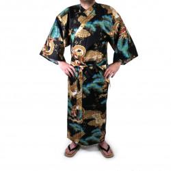 kimono yukata giapponese nero in cotone, RYÛMATSU, drago e pini
