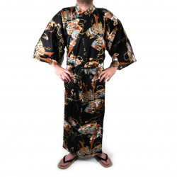 japanischer Herren yukata Kimono - schwarz, SHONZUIRYÛ, samuraï