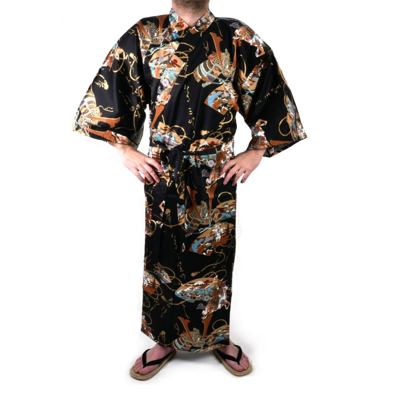 kimono yukata traditionnel japonais noir en coton samuraï pour homme