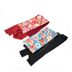 ceinture obi japonaise vintage bleue ou rouge, HANA, fleurs