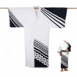Yukata prestige en coton japonais pour homme KUROGUSARI blanc