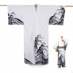 Yukata prestige en coton japonais pour homme KURONAMI blanc