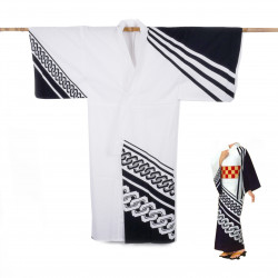 Yukata prestige en coton japonais pour femme KUROGUSARI blanc