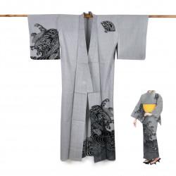 Yukata prestige en coton japonais pour femme NAMIZENSU noir