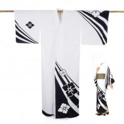 Yukata prestige en coton japonais pour femme KUROSHIBORI blanc