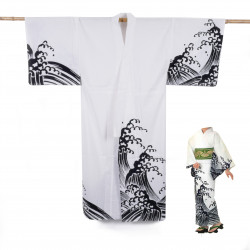 Yukata prestige en coton japonais pour femme KURONAMI blanc