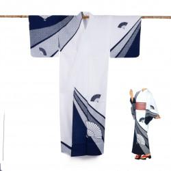 Yukata prestige en coton japonais pour femme SENSUSHIBORI bleu