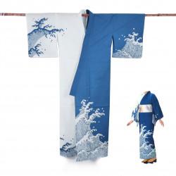 Yukata prestige en coton japonais pour femme SHIRANAMI bleu