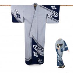 Yukata prestige en coton japonais pour femme HANASHIBORI bleu