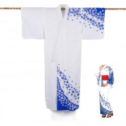 Yukata prestige en coton japonais pour femme SAKURA bleu