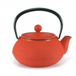 Japanische Teekanne aus Gusseisen, IWACHU ARARE 0,55lt, rot