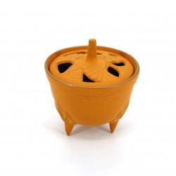 Japanese cast iron incense burner, IWACHU GINGKO, yellow