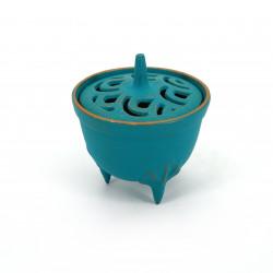 bruciatore di incenso giapponese in ghisa, IWACHU NAMI, onda blu