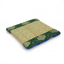 dessous de plat / théière en tatami 13 x 13 cm réversible bleu / vert