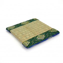 japanese tatami trivet reversible green / blue 13 x 13 cm