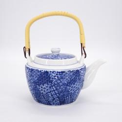 théière japonaise en céramique bleue avec anse patchwork GOJO
