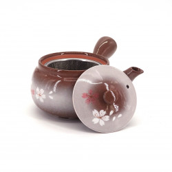 japanese kyusu teapot in gray and brown tokoname terracotta HEIANSAKURA