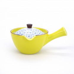 théière kyusu japonaise en céramique jaune fleurs KIISAKURA