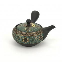 japanese green and black kyusu teapot in terracotta tokoname KIKUKARAKUSA KURODORO