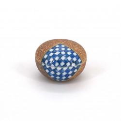 small brown box pillbox ceramic, ICHIMATSU, checkerboard