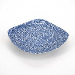 assiette carrée japonaise en céramique, SAKURA MOMIJI, bleue
