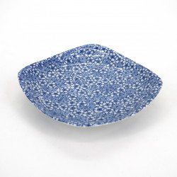Japanese square ceramic plate, SAKURA MOMIJI, blue