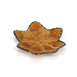 small Japanese leaf-shaped plate, MOMIJI, brown