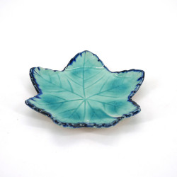 small Japanese leaf-shaped plate, MOMIJI, blue