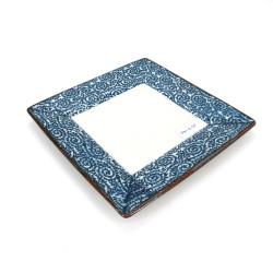 japanische quadratische Platte, AI KARAKUSA, blau