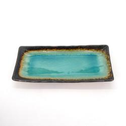 assiette rectangulaire japonaise en céramique, LAGOON, bleu turquoise