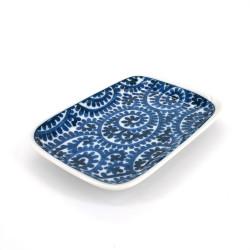 piccolo piatto giapponese rettangolare, TAKO KARAKUSA, blu