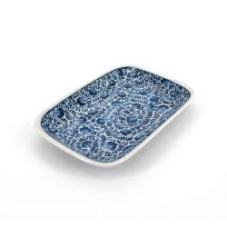 piccolo piatto rettangolare giapponese, KARAKUSA, blu