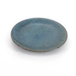 assiette ronde japonaise en céramique, SENDAN, bleu et gris
