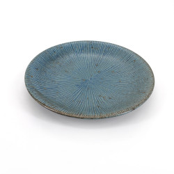 Japanese round ceramic plate, SENDAN, blue and gray