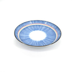 assiette ronde bleue japonaise en céramique, TOKUSA, lignes colorées